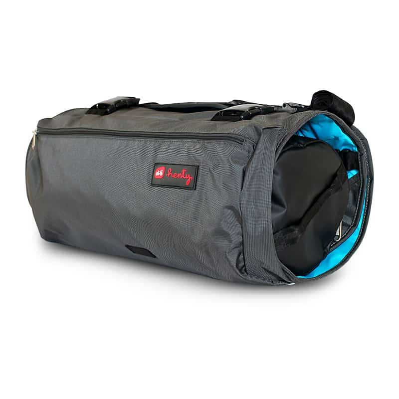 A grey Henty Wingman Messenger garment bag with blue lining, with a black compatible inner bag inside.