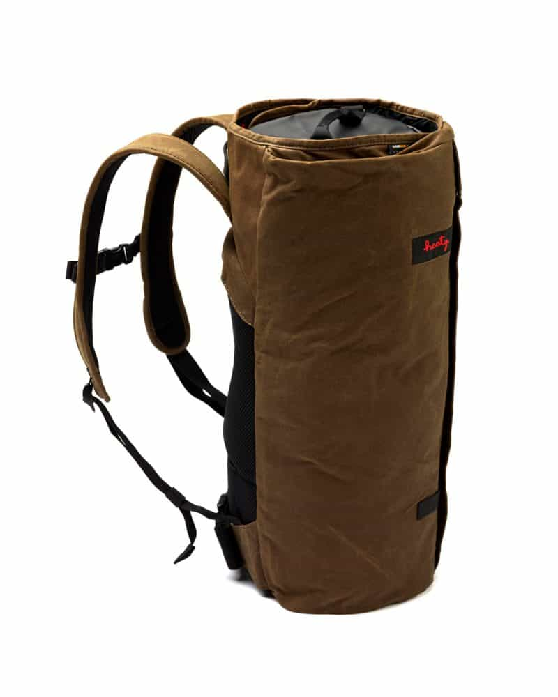 Brown CoPilot backpack canvas stood up.