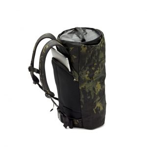 Behind shot of rolled up CoPilot Backpack in Camo (Limited Edition)